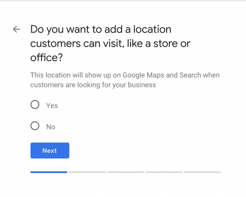 Add a location that customer can visit.