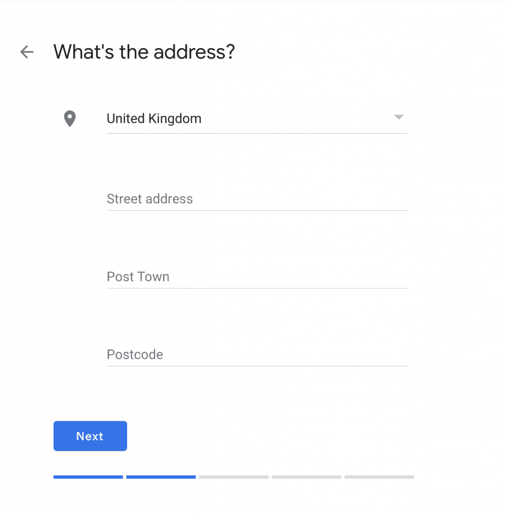 Google My Business - enter address