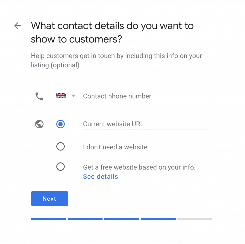 What contact details do you want to show to customers?