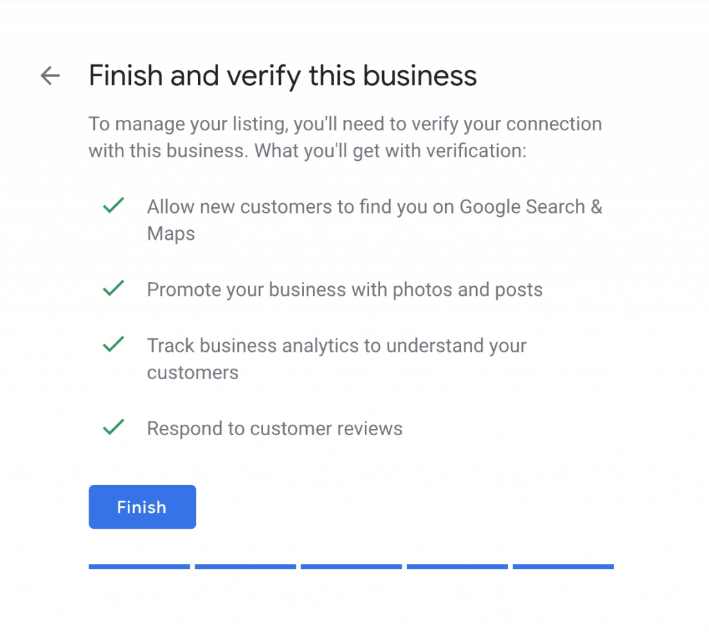 Finish and verify your business