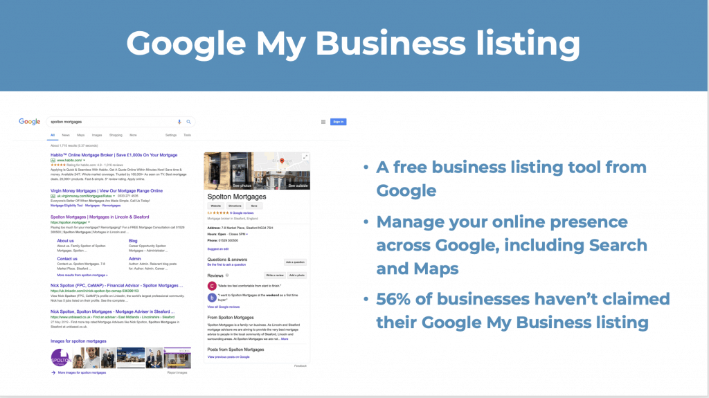 Google My Business listing, essential for Local SEO