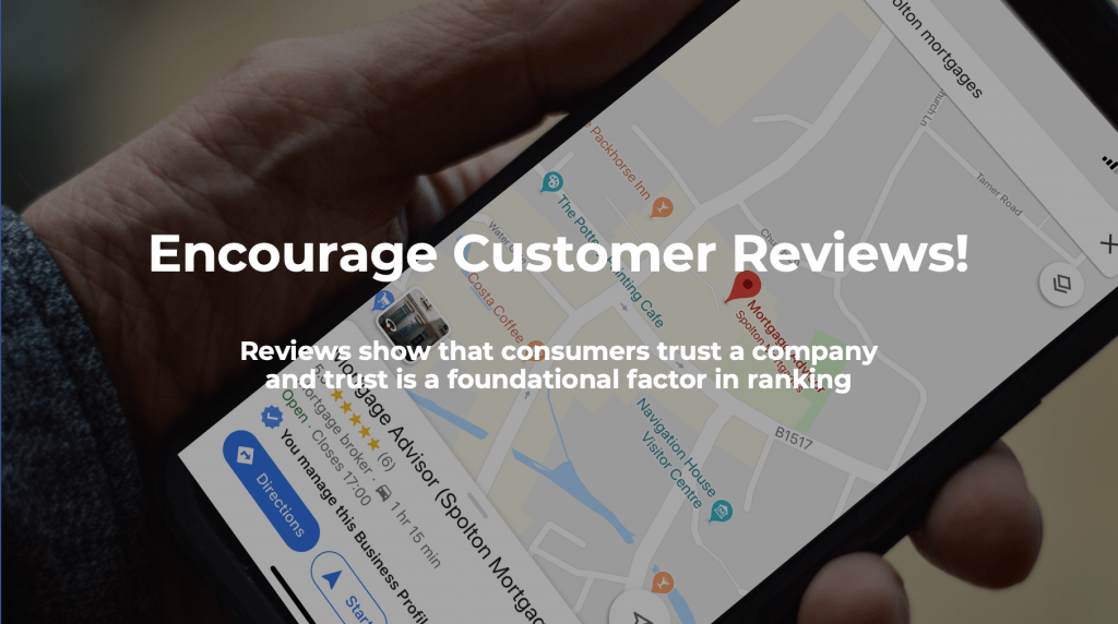 Encourage customer reviews for a strong local SEO signal