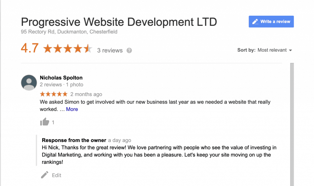 Local search engine optimisation - Local review building